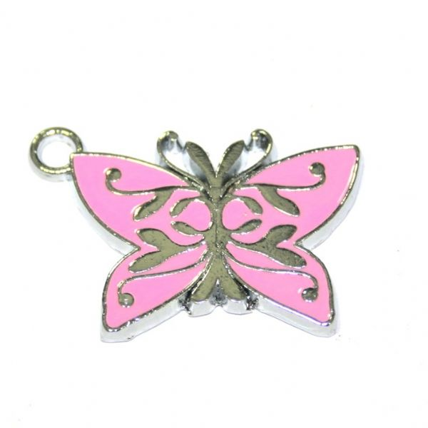 1 x 25*18mm rhodium plated pink/silver butterfly enamel charm - S.D03. - CHE1101